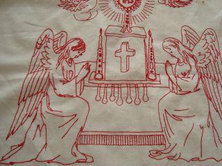 Antike Altardecke Mit.  Spitzen Handarbeit,  Leinen,  Rote Stickerei Xxl Bilder Bild