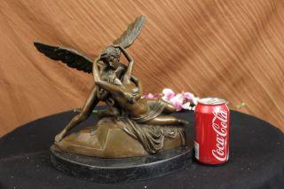 Elegante Bronze Liebhaber Amor Psyche Romantik Skulptur Figur - Kultur Große Bild