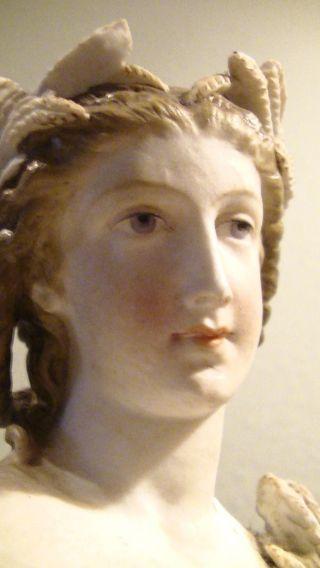 Alte Porzellan Figur Skulptur,  Handbemalt,  Antik,  Frau,  Griechische Göttin ? Bild