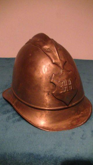 Alter Feuerwehr Helm,  Kopfbedeckung,  Messing,  Antik,  C.  Beuttenmüller,  Bretten Bild