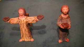 Zwei Alte Figuren,  Engel,  Antik,  Handarbeit,  Handbemalt Bild