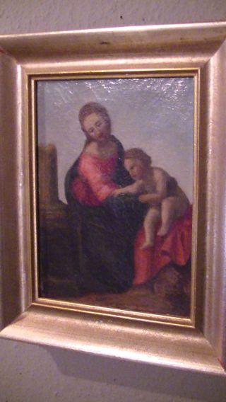 Schönes,  Sehr Altes Ölgemälde,  Leinwand,  Maria Mit Kind,  Um 1800,  Antik Bild