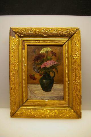 Antikes Ölgemälde Stillleben Blumen In Einer Vase Sign. Bild