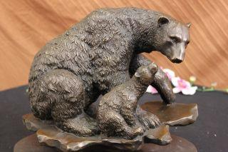 Bronze Skulptur Signiert Augustus Schwarzer Bär Groß Art Deco Figur Bild