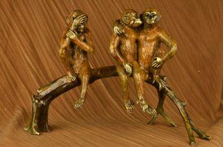 Bronze Skulptur Multi Farben Patina 3 Affen Art Deco Figur Statue Bild