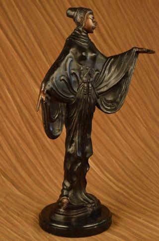 Bronze Skulptur Gegossen Art Nouveau Dekor Marmorsockel Figur Dekor Bild