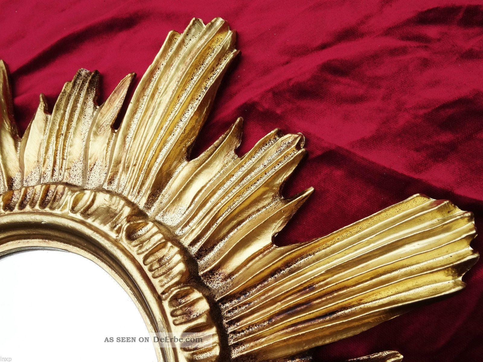 barock antik wandspiegel sonne in gold 42x42 cm rund runder repro spiegel sun 13. Black Bedroom Furniture Sets. Home Design Ideas