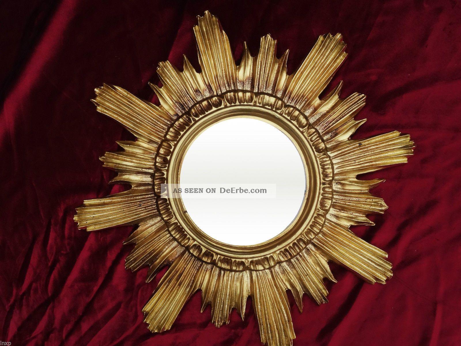 Barock antik wandspiegel sonne in gold 42x42 cm rund runder repro spiegel sun 13 - Runder spiegel gold ...