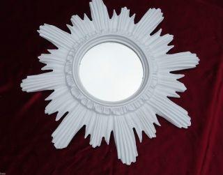 Barock Antik Wandspiegel Sonne In Weiß 42x42 Cm Rund Runder Repro Spiegel Sun 13 Bild