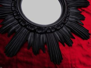 Barock Antik Wandspiegel Sonne In Schwarz 42x42 Cm Rund Runder Repro Spiegel 13 Bild