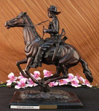 Deko Figur Trooper Der Ebenen Von Remington Bronze Skulptur Art Marmor Bild