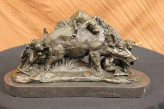 Unterzeichnet Bronze Marmor Wildschwein Hunde Zur Jagd Tier Sculpture Abbildung Bild