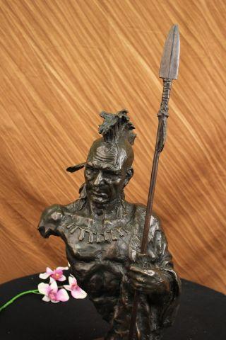 Skulptur Bronze Büste Indianerhäuptling Statue Signiert Nick Figur Deko Bild