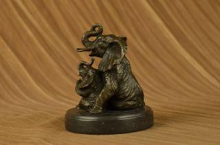 Bronze Skulptur Tierreich Elefanten Mutter Mit Familie Bronze Figur Bild