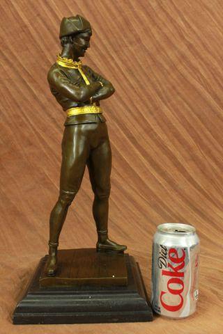 Bronze Skulpur Clown Hofnarr Museums Qualität Gold Rand Geschenk Figur Bild