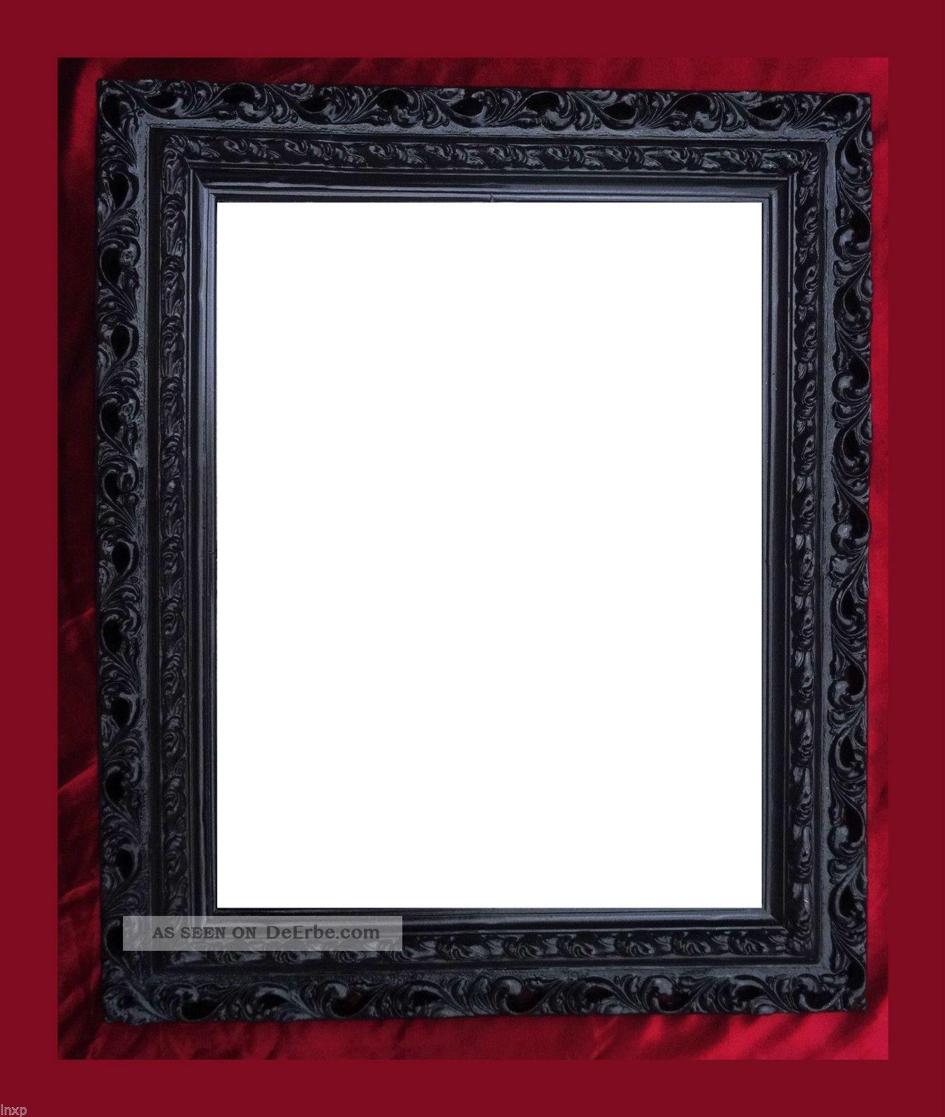 wandspiegel 43x36 spiegel barock rechteckig schwarz bilderrahmen arabesco 3. Black Bedroom Furniture Sets. Home Design Ideas