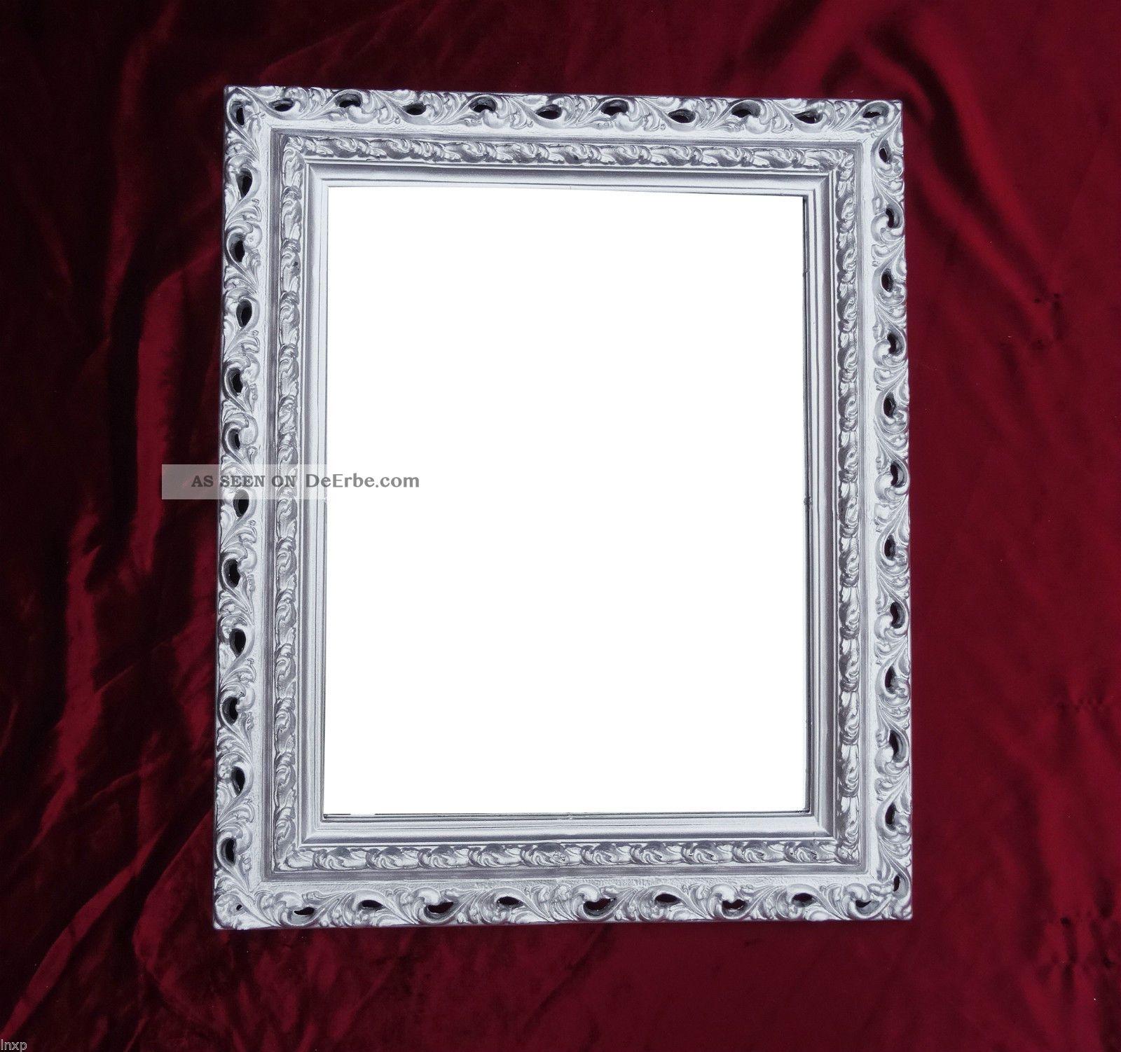 wandspiegel 43x36 spiegel barock rechteckig repro silber bilderrahmen arabesco 3. Black Bedroom Furniture Sets. Home Design Ideas