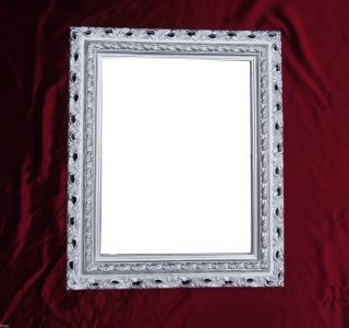 Wandspiegel 43x36 Spiegel Barock Rechteckig Repro Silber Bilderrahmen Arabesco 3 Bild