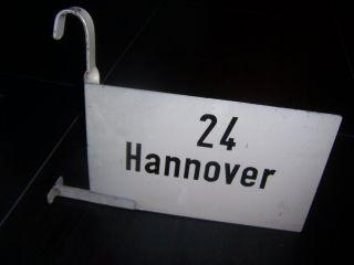 Altes Db 2 Seitiges Zuglaufschild Mit Haken 24 Hannover Eisenbahn Bahnschild Bild