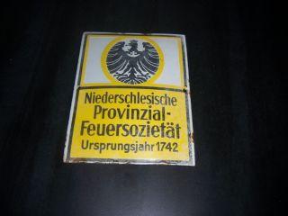 Email Schild Alt Schlesien 1742 Niederschlesische Provinzial FeuersozietÄt Antik Bild