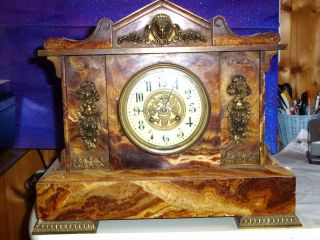 Antike Standuhrkaminuhrtischuhrmarmorbiedermeier Bild