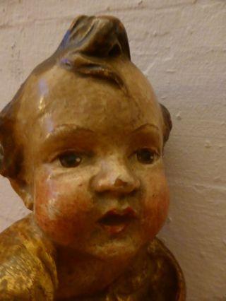 Antiker Barock Holz Engel Putti Leibes Freundliches Gesicht SchÖne Patina Bild