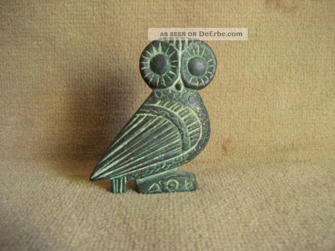 Antike Römische Figur Eule Bronze Antike Bild