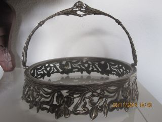 Jugendstillll Sehrselten Silbernemetallglasschalehalter,  Fassung Bild