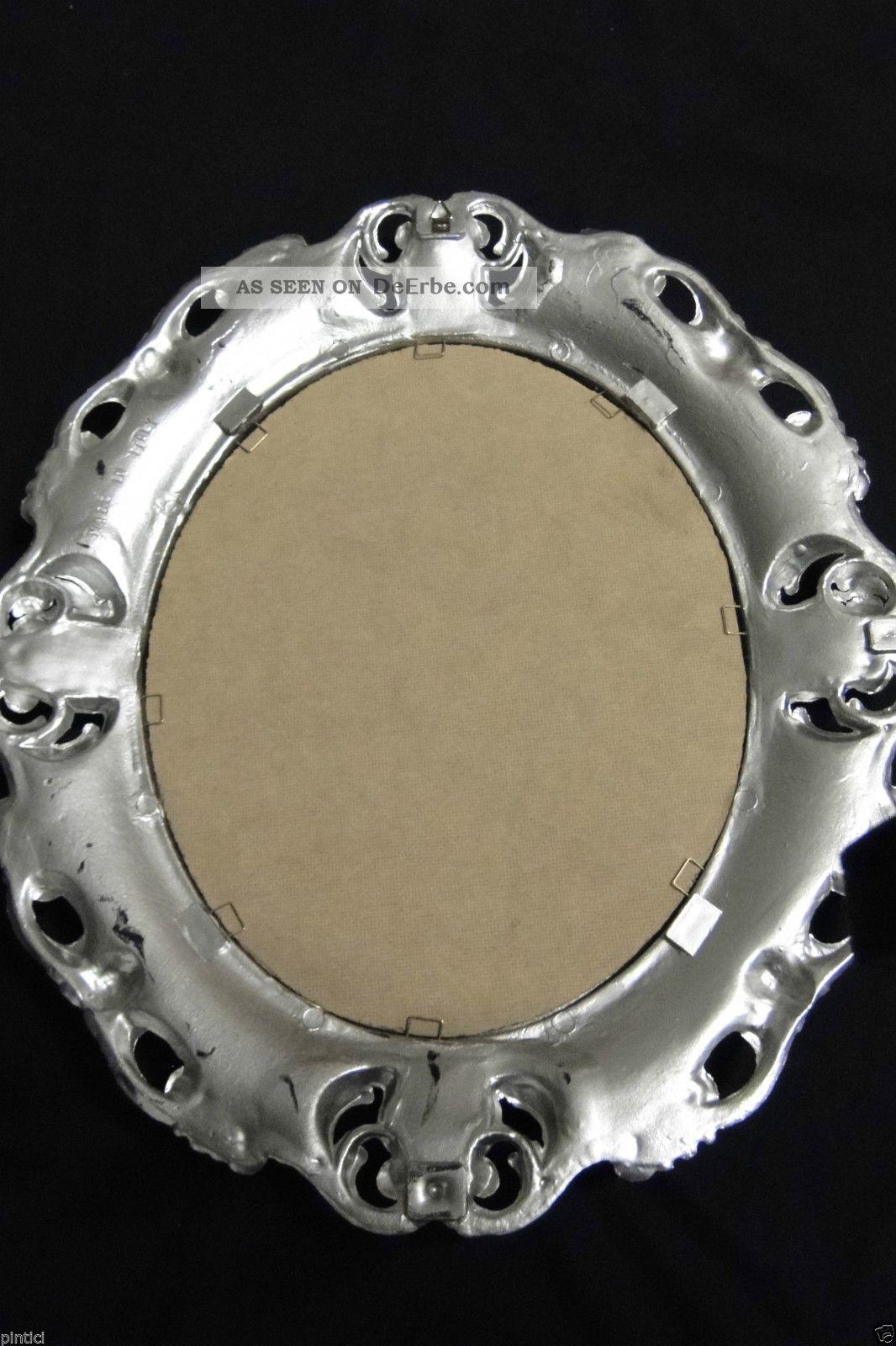 Wandspiegel silber barock oval spiegel antik 45x38 badspiegel oval spiegel 3045 - Spiegel oval silber ...