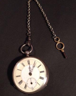Antike Taschenuhr,  Kette,  Schlüssel Von 1864,  8 Rubine Bild