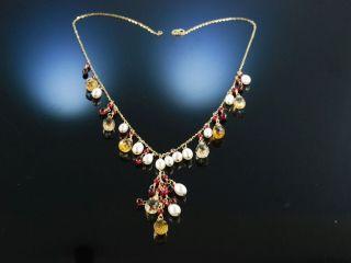 Y - Collier Gelb Gold 750 Citrine Rubine Granate Zuchtperlen TraumstÜck Bild