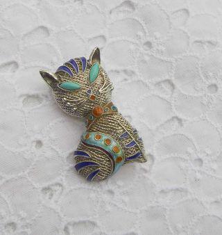 Süße Silver Katze Cloisonne & Türkis Anhänger & Brosche Filgran Arbeit - China Bild