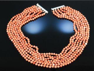 Elegante Korallenkette Sterling Silber 925 7 Reihig Korallen Kette Collier Bild