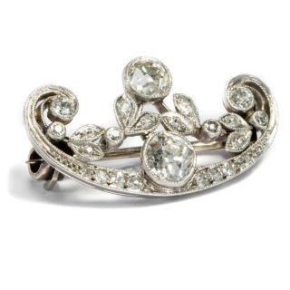 Strahlendes Weiß: Exzellente Diamant Brosche Um 1910 In Platin 1,  36 Ct Diamanten Bild