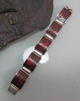 Armband Email 70er Design Silber Blumenmuster Sammlerstück Bild