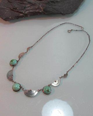 Collier Kette Art Deco Silber Grüne Steine Traumstück (282) Bild