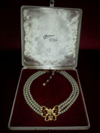 1970 ' S Avon Perlen & Strass Schmetterling Collier Halskette,  Signiert A.  Nachlaß Bild