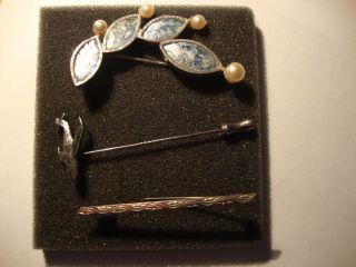 3 Silber Broschen 925 835 Silberbrosche Jugendstil Abalone Perlen Rarität Bild