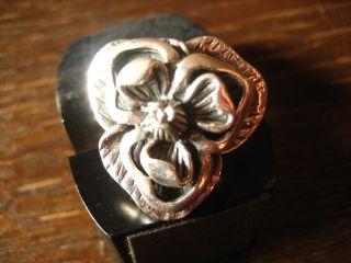 Schwerer Designer Blüten Ring 925er Silber Blume Blüte Modern Interpretiert Bild