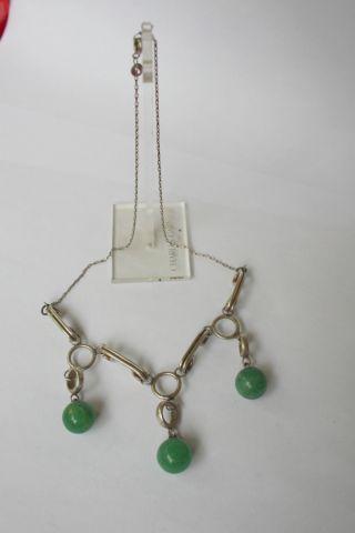 Uralte Kette In Silber 925/950 Mit Jade?kugeln Bild