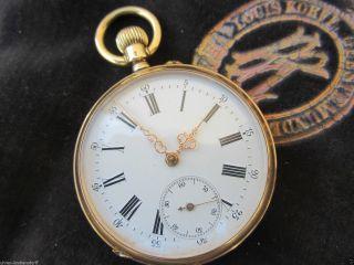 Gold Herren Taschenuhr 14 Karat Schweiz Antik Pocket Watch Intakt Funktioniert Bild