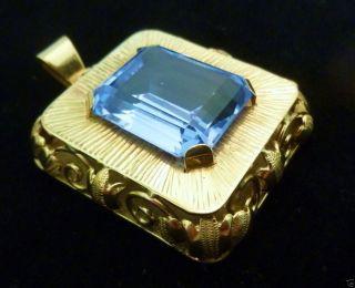 Unikat Großer Blautopasanhänger Anhänger 585 Er Gold Handarbeit Blautopas Bild