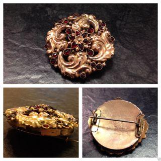 Antike Biedermeier - Brosche Mit Granat Tombak Rotvergoldet Granatbrosche Damen Bild