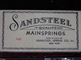 Antike Vintage Sandsteel Quality Mainsprings Usa York Uhrfeder Box Rarität Bild