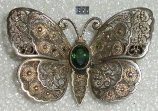 Tolle Alte Brosche Schmetterling Aus 835er Silber Mit Turmalin (da3006) Bild