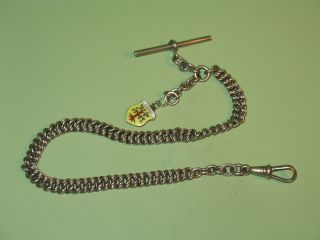 Alte Uhrkette,  Silber?/versilbert?t,  Ca 30 Cm Lang,  Um 1900 - Mit Anhänger Bild