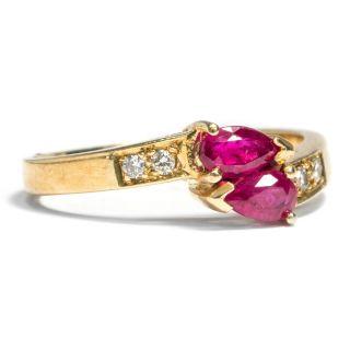 Wunderbarer Ring Mit Rubinen & Diamanten Aus 585 Gold Diamant Rubin Ruby Diamond Bild