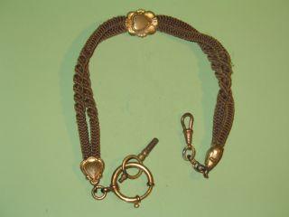 Alte Uhrkette,  Haarkette/schaumgoldteile,  Ca 31 Cm Lang,  Vor 1900 - Mit Schlüssel Bild