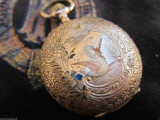 Gold Email Damen Taschenuhr 14 Karat Schweiz Antik Pocket Watch Intakt Bild