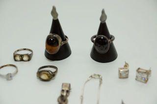 Antiker Schmuck Biedermeier Konvolut Silber Ohrstecker Ring Silber Armband Bild